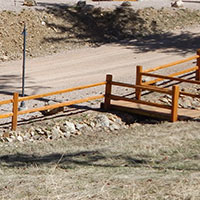 Cedar split rail wood fence